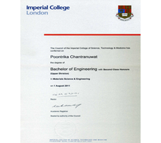 Bachelor of Engineering with Second Class Honours Upper-Division In Materials Science and Engineering