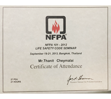 Certificate of NFPA101-2012 Life Safety Code Seminar