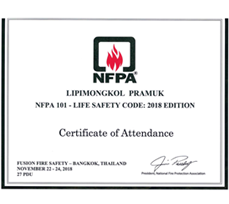 Certificate of NFPA 101-LIFE SAFETY CODE 2018 EDITIO