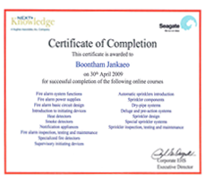Certificate of the following online course